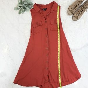 J for Justify Dresses - Justify Burnt Orange Rust Sleeveless Shirt Dress